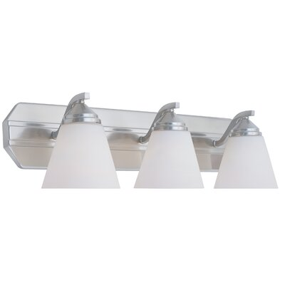 Piazza 3-Light Vanity Light Finish: Satin Platinum with Frosted White Shade