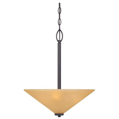 Arcadia 3-Light Inverted Pendant Finish: Oil Rubbed Bronze with Golden Shade
