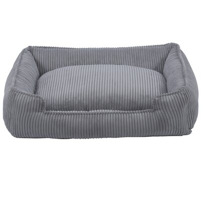 Corduroy Lounge Bolster Dog Bed Color: Dove Grey, Size: Small (24 L x 18 W)