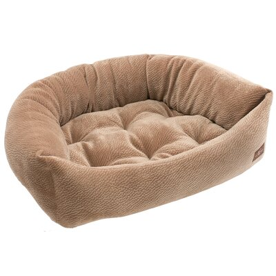 Ripple Velour Napper Bolster Size: Medium (27 W x 35 D x 8.5 H), Color: Camel