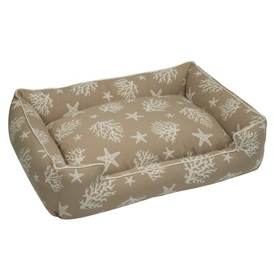 Cotton Blend Lounge Bed Bolster Size: Medium, Color: Tan and Creme