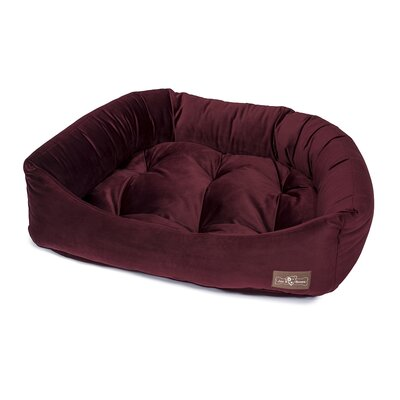 Plush Velour Napper Bed Size: Small (21 L x 24 W), Color: Maroon