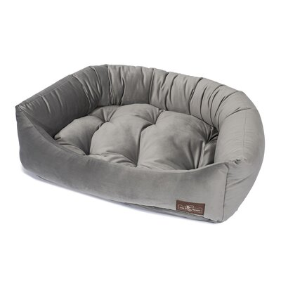 Plush Velour Napper Bed Size: Small (21 L x 24 W), Color: Seal Gray