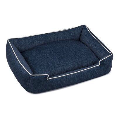 Plush Velour Lounge Dog Bed Size: Small (18 L x 24 W), Color: Denim