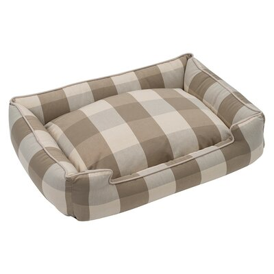 Buffalo Check Premium Cotton Blend Lounge Bolster Bed Size: 32 W x 27 D x 10 H, Color: Puddy