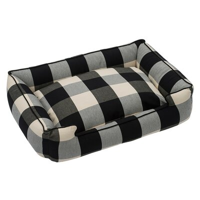 Buffalo Check Premium Cotton Blend Lounge Bolster Bed Size: 32 W x 27 D x 10 H, Color: Black