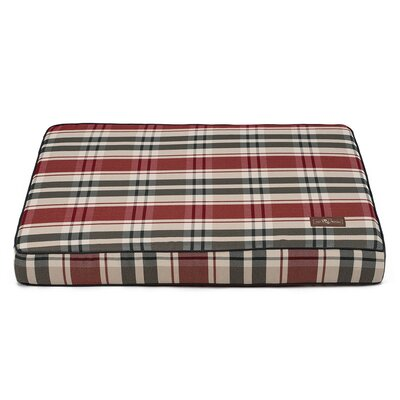 Kensington Fog Premium Cotton Blend Rectangular Memory Foam Pillow/Classic Dog Bed Size: 5 H x 42 W x 36 D, Color: Red/Black