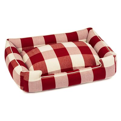 Buffalo Check Premium Cotton Blend Lounge Bolster Bed Size: 32 W x 27 D x 10 H, Color: Crimson