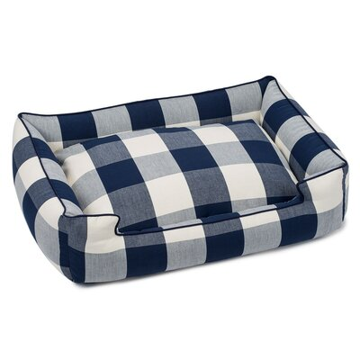 Buffalo Check Premium Cotton Blend Lounge Bolster Bed Size: 24 W x 18 D x 7 H, Color: Navy