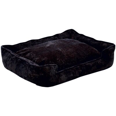 Corduroy Lounge Bolster Dog Bed Size: Small (24 L x 18 W), Color: Midnight