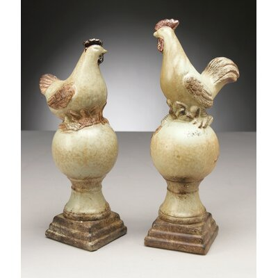 Rooster and Chicken on Pedestals Pair Figurine
