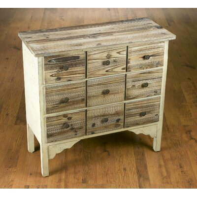 9 Drawer Weathered Wood Cabinet