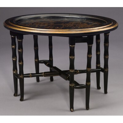 Cheap AA Importing Oval Tray Table in Black with Antique Bronze Painted Trim (AAI1127)