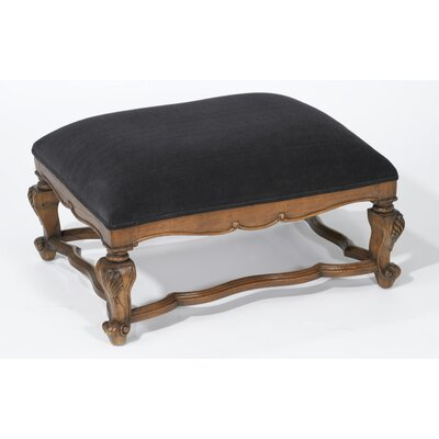 Velvet Top Ottoman Upholstery: Walnut/Black