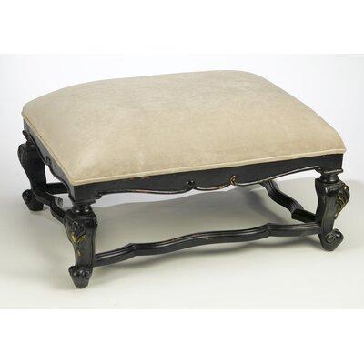Velvet Top Ottoman Upholstery: Black/Beige