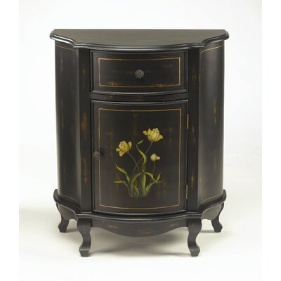 Cabinet with Floral Design in Distressed Black
