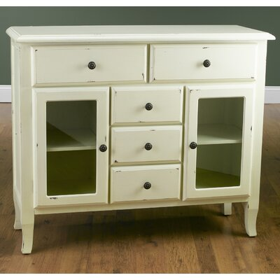 2 Glass Door Server Finish: Antique White