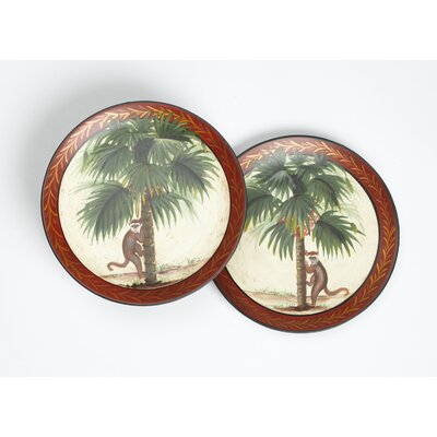 2 Piece Monkey and Palm Tree Plate Set
