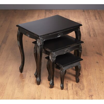 Lyda 3 Piece Nesting Table Color: Black