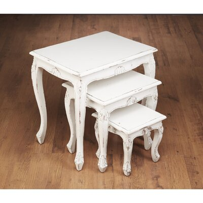 Lyda 3 Piece Nesting Table Color: White