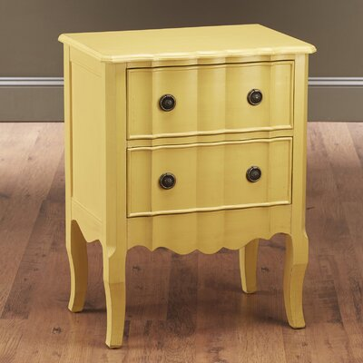 2 Drawer Nightstand Finish: Yellow