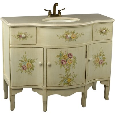 44 Single Painted Floral Style Bathroom Vanity Set