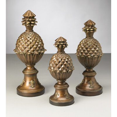 3 Piece Pineapple Finial Sculpture Set