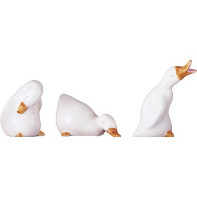 3 Piece Ceramic Goose Figurine Set