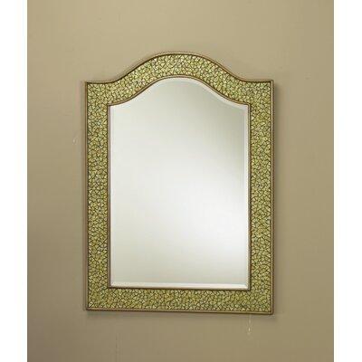 Mosaic Glass Bordered Beveled Wall Mirror Finish: Gold