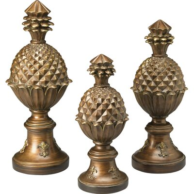 AA Importing 3 Piece Pineapple Finial Sculpture Set