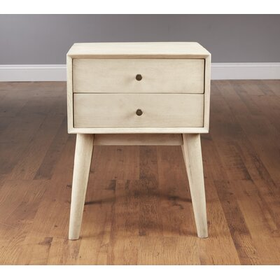 Mid Century Style End Table Color: White Wash