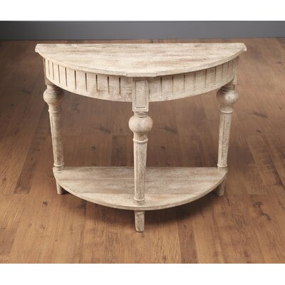 North Andover Half Round Console Table with Shelf Color: Weathered Sand