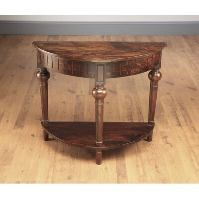 North Andover Half Round Console Table with Shelf Color: Pecan