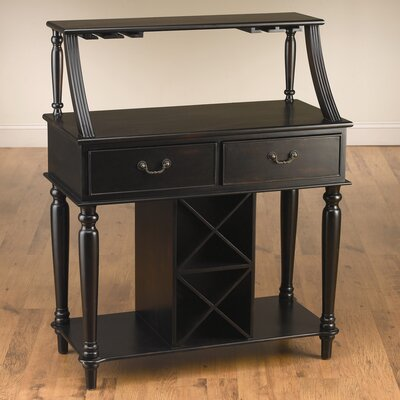 Back Bar with Wine Storage Finish: Black