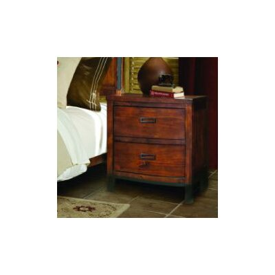 No credit check financing Rustic Lodge  2 Drawer Nightstand...