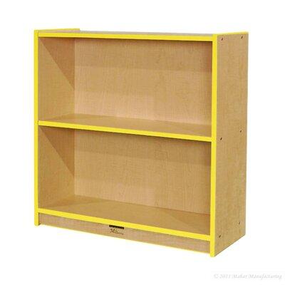 "Mahar Single-Sided 36"" Bookcase - Finish: Gray Nebula, Trim color: Blue"