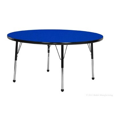 """Mahar 42"""" Round Table - Top Color: Walnut, Edge Color: Teal, Leg Height & Glide Style: Standard 21""""-30"""" Ball Glide"""