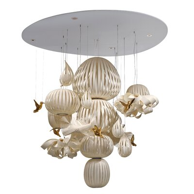 Candelabro Waterfall Chandelier Bird Finish: Gold, Finish: Natural Beech