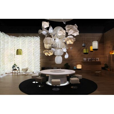 Candelabro Waterfall Chandelier Finish: Ivory White, Bird Finish: White