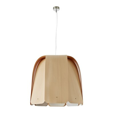 Domo 1-Light Bowl Pendant Bulb Type: E26 Base, Size: Large, Finish: Natural Beech