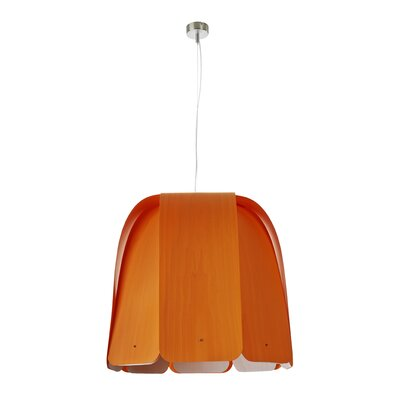 Domo 1-Light Bowl Pendant Bulb Type: E26 Base, Finish: Orange, Size: Large