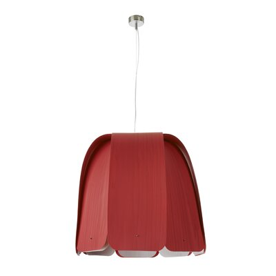 Domo 1-Light Inverted Pendant Finish: Red, Size: 21.6