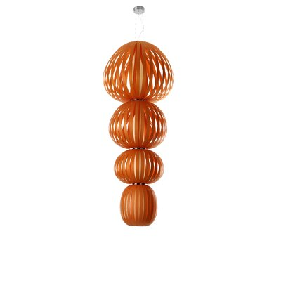 Totem 4-Light Shaded Chandelier Finish: Orange, Ballast: Multivolt