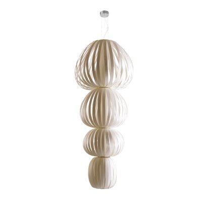 Totem 4-Light Shaded Chandelier Finish: Ivory White, Ballast: Multivolt