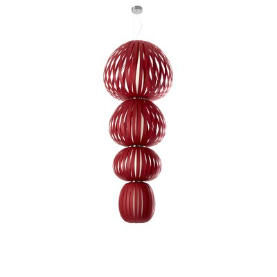 Totem 4-Light Shaded Chandelier Ballast: Dimmable, Finish: Red