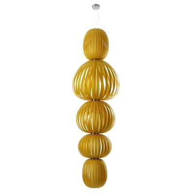 Totem 5-Light Waterfall Chandelier Finish: Yellow, Ballast: Dimmable