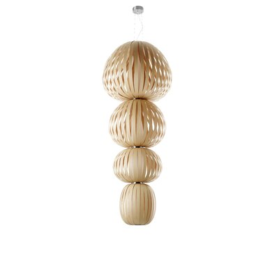 Totem 4-Light Shaded Chandelier Ballast: Dimmable, Finish: Natural Beech