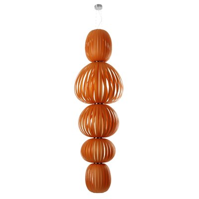 Totem 5-Light Waterfall Chandelier Finish: Orange, Ballast: Dimmable