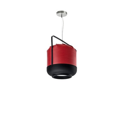 Chou 1-Light Pendant Size: Medium, Bulb Type: E26 Base, Finish: Red