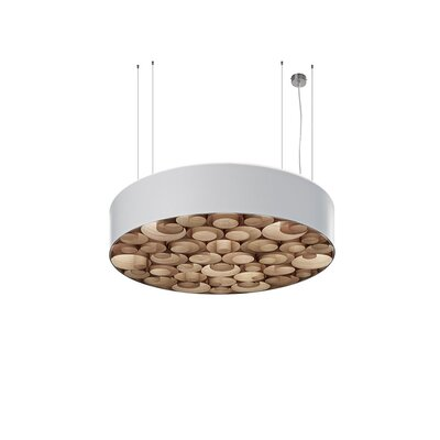 Spiro 4-Light Drum Pendant Shade Color: White, Ballast: Multivolt, Interior Shade Color: Natural Cherry